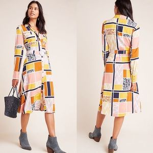 Anthropologie Nouveau Shirtdress Abstract Print